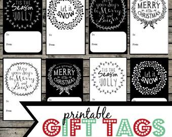 Printable Christmas Gift Tags. Holiday gift tags. Christmas printable. Black and White Christmas. Elegant holiday printable tags and labels