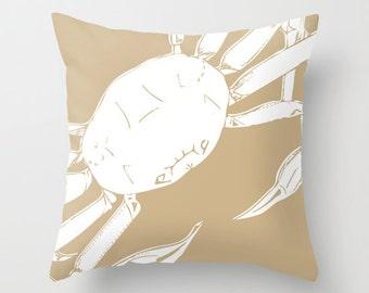 Snow Crab Pillow Cover, Sea Animal pillow, beige pillow, crab decor, sand neutral pillow, sea life decor, choose color, organic pillow