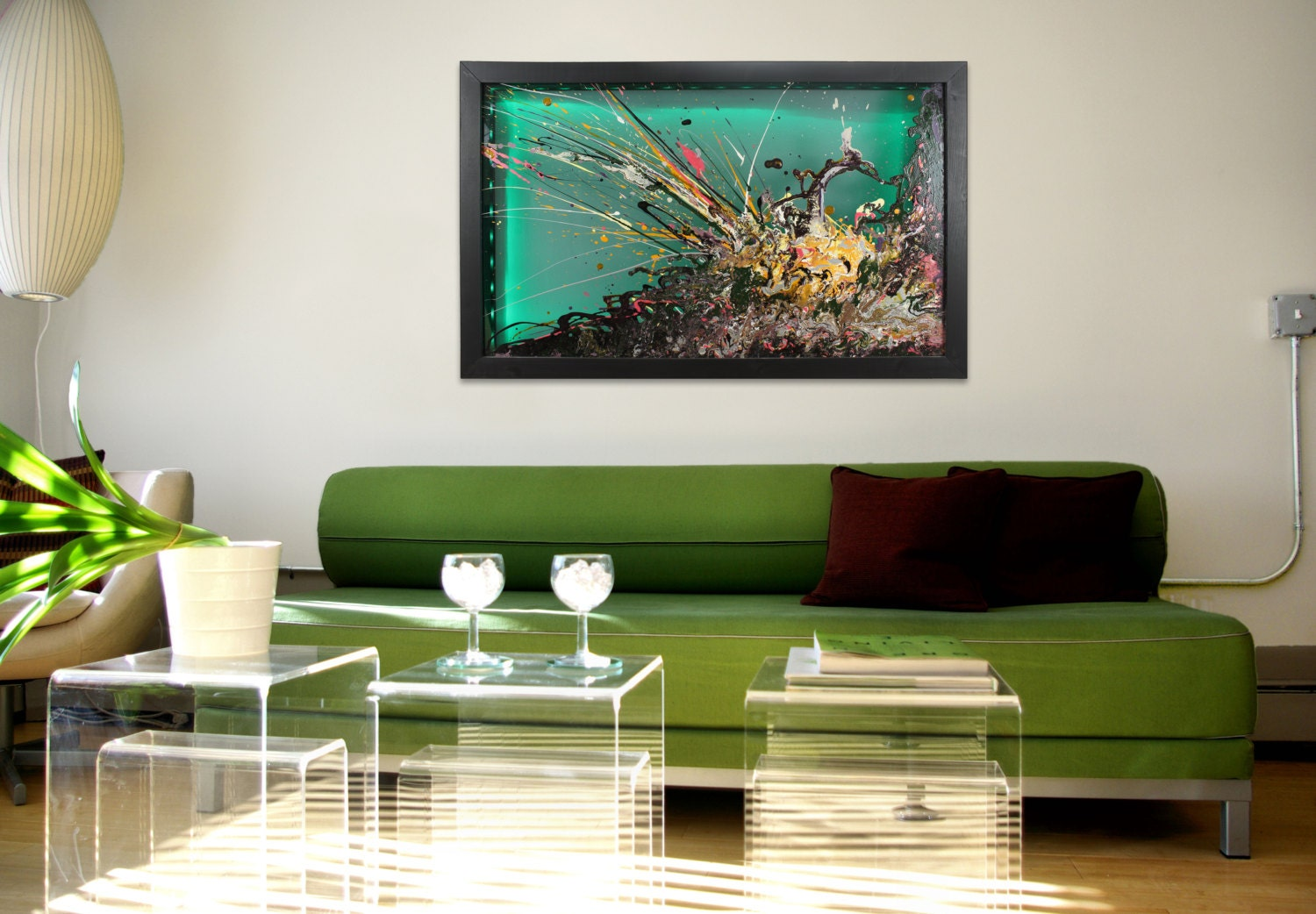 Glass wall artlarge abstract artwall art by for Large glass walls