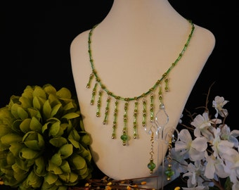 Spring Rain: glass and crystal beaded necklace and earring set