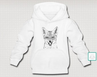 Red Fox Wildlife Art Original Line Drawing Illustration Kids Cuddly Hoodie. Choice Of Front Or Back Print. White.