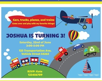 Customized Transportation Printable Birthday Invitation
