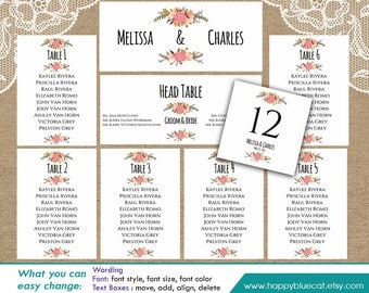 DiY Printable Wedding Seating Chart Template - Instant Download - EDITABLE TEXT - Rustic Vintage Floral - Microsoft® Word Format HBC4n