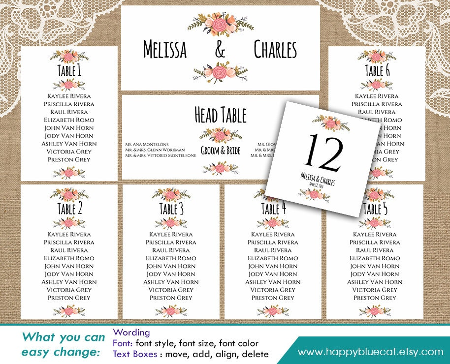 Diy printable wedding seating chart template instant for Free printable wedding seating chart template