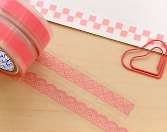Lace Tape, Bud Silk Stationery Stickers, Lace Stickers, Bud Silk Stickers, Lace stationery tape, Pink Tape