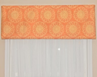 Cornice Valance, Window Valance, Orange and Tan Medallion Valance,Medallion Valance, Window Valance