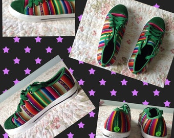 Peru Green Textile Low Top Sneakers