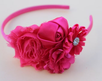 Hot pink girls headband, plastic headbands, hot pink flower girl headband, pink wedding headband, hot pink hair flower headband for girls