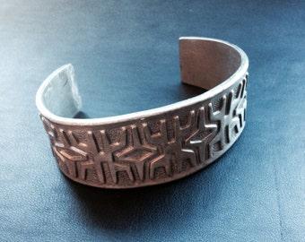 Vintage Brødrene Mylius pewter cuff bracelet- made in Norway