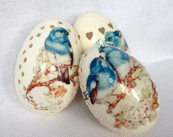 3 Goose White Eggs Madeira with Blue Birds Decoupage, Hand Decorated Painted Easter Egg