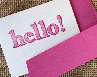 Pink 'hello' letterpress card, hand made greeting cards - profits to Mind