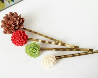 Floral hair pins, flower bobby pins, rose hair pins, floral hair accessories, stocking stuffer, gift for her, romantic hair pin, set of four