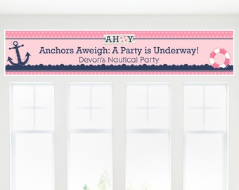Ahoy - Nautical Girl - Custom Banner for Baby Shower or Birthday Party Decorations