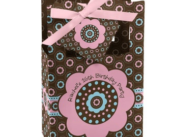 Trendy Flower Favor Boxes - Custom Baby Shower and Birthday Party Supplies - Set of 12