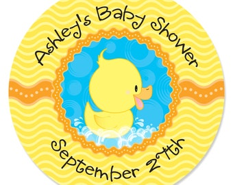 24 Ducky Duck Circle Stickers - Personalized baby Shower or Birthday Party DIY Craft Supplies