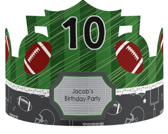 8 Custom Football Party Hats - Birthday Party Hats - Party Supplies - 8 Count
