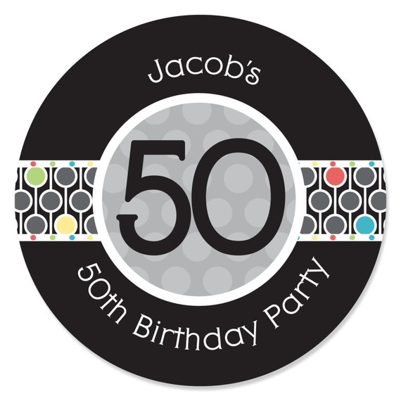 50th Birthday Circle Stickers Personalized Birthday Party