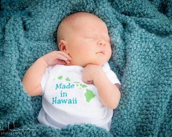 Made In Hawaii State Bodysuit Tshirt Baby Kid Onesie Personalized Name Custom Kauai Oahu Molokai Lanai Maui Big Island