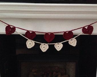Handmade Crochet Heart Garland, Valentine Bunting, Banner, Double Strand