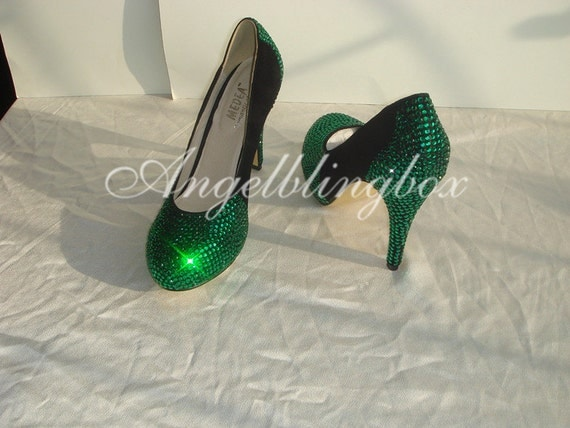 green black rhienstone shoes custom prom shoes by