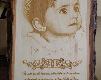 Photo Engraved on Basswood Plank