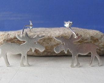 Silver Dangle Earrings-Silver Moose Earrings-Sterling Silver Moose Earrings-Animal Jewelry-Elk Jewelry-Christmas Gift