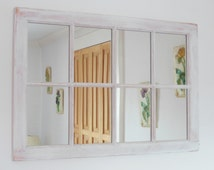 Distressed Framed Mirror, Window Mirror, window pane,, Window Sash Mirror, Shabby Chic Mirror, Rustic Barn Mirror