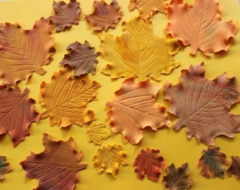 20 edible fall maple leaves fondant Thanksgiving cupcake cake toppers autumn vintage country decorations rustic