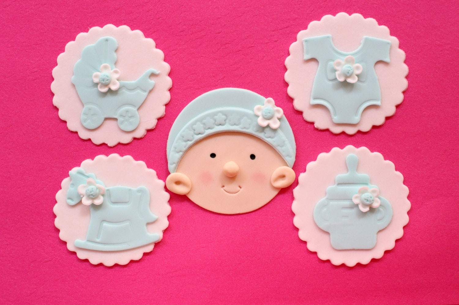 Cake Toppers Baby Shower Etsy : baby girl cupcake toppers 12pcs edible baby shower fondant