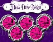 Pink Zebra Sip Happens - 1 inch round digital graphics - Instant Download