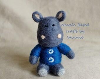 Needle felted Herbert the Hippo