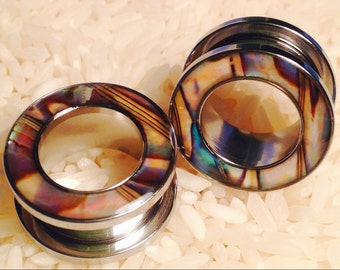 """4g - 5/8"""" Mother of Pearl Rimmed Steel Tunnels! CHOOSE SIZE"""