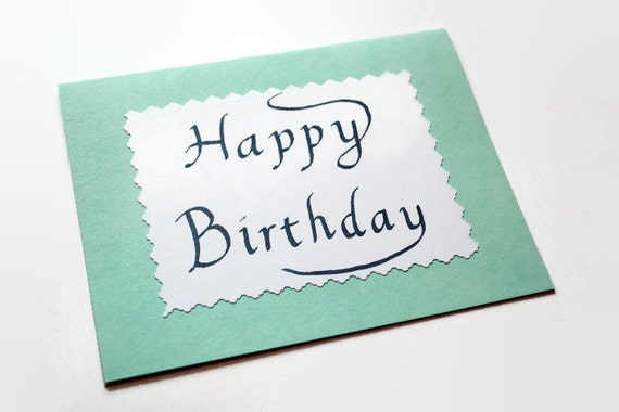 Items similar to calligraphy birthday card simple