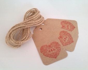 10 Christmas Gift Tags Hand-Stamped Nordic Heart - Buff Brown Luggage Tag, Paper Kraft Tag with Twine, Vintage Style
