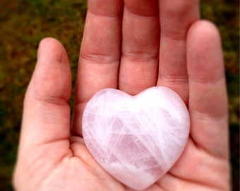"Rose Quartz Heart / aprx 2 "" 50-70g / Pink Pocket Stone / Pink Puffed Heart Stone / Metaphysical / Happy Home / Healing Puff Heart / LOVE"