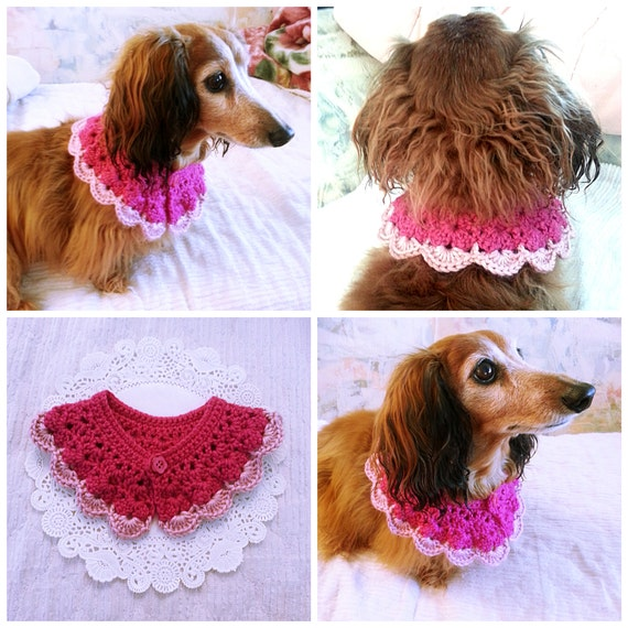 Free Crochet Pattern For Dog Bandana : Crochet Dog Scarf Dog Collar Dog Bandana Dog Cowl Cat