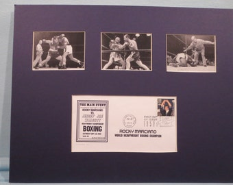 Heavyweight Boxing Champion Rocky Marciano versus Jersey Joe Walcott and First Day Cover of the Rocky Marciano stamp