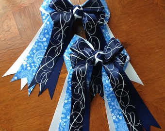 Horse Show Hair Bows,/equestrian clothing/beautiful blue paisley and navy