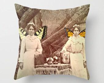 Winter Fairies Pillow Cover - Vintage, Victorian, Photograph, fairies, winter, fairy tale, sisters, whimsical, bedding, throw pillow, decor