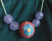 Peachy Periwinkle Flower Necklace