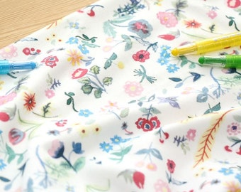 The Painting in Water Colors Pattern 40s Cotton Interlock Knit Fabric (White Ivory)