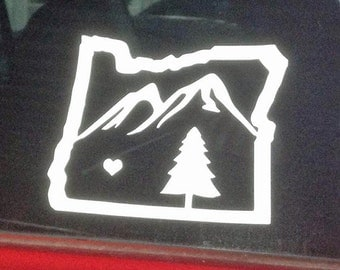 Oregon Mountains - Vinyl Decal - Bumper Sticker - Car Window Decal - Pacific Northwest - Mountain and Trees - Art for Oregon