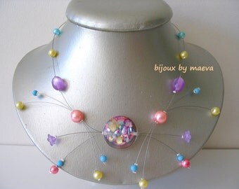 fancy necklace yellow, purple, turquoise and apricot Spark