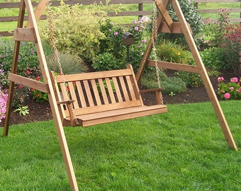 Red Cedar Traditional English 6ft. Porch Swing Set