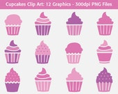 Cupcakes Clip Art: Pink and Purple - 12 bold cupcake graphics, scrapbooking art, icons, web or graphic design clipart - pink dessert, party