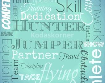 Hunter Jumper Caribbean word art Digital download