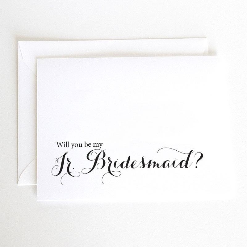 Will You Be My Jr Bridesmaid Asking Wedding Party Printed Cards With Envelopes