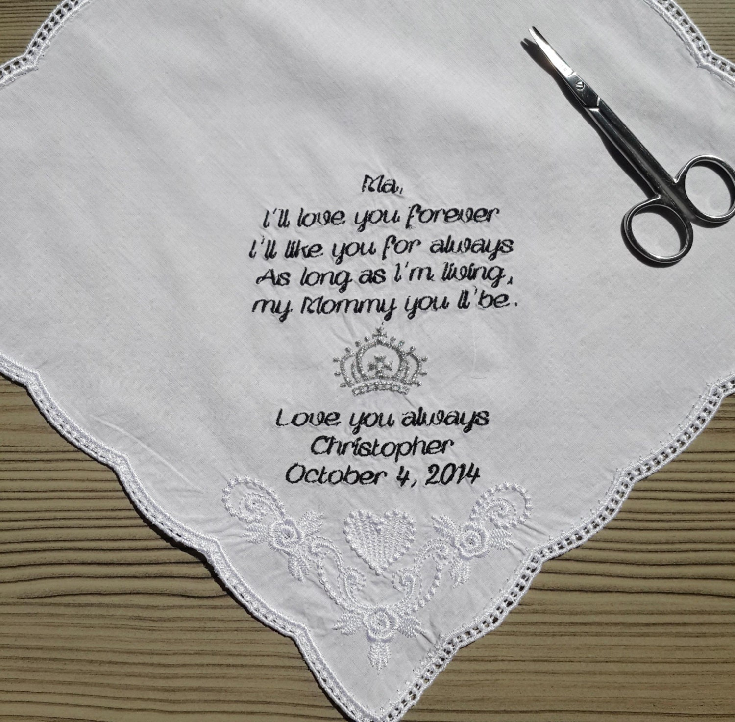 Personalised Wedding Gifts Quick Delivery : fast shipping Personalized Wedding Handkerchief by PromiseForever