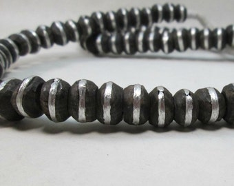 Tribal Black Ebony Wood and Silver Rondelle Trade Beads from Mali  8-10mm (15)