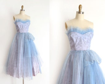 vintage 1950s dress // 50s blue evening prom dress